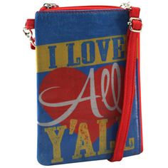 Cross-body Phone Bag - I Love All Y'All – Alicia Klein - Taxi Wallet - OWLrecycled