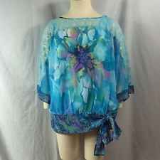 Watercolor Fig and Flowers plus size chiffon overlay blouse 3X