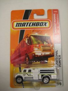 Mattel Matchbox 2007 MBX Emergency Response 1:64 Scale Die Cast Metal Car # 59 - International Pumper by mattel. $7.99. Diecast Metal and Plastic Parts. 1:64 Scale; Realistic Details. For age 3 and up