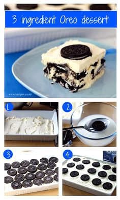 3 ingredient Oreo dessert I already make this as a log with choc chippie biscuits - would be awesome with Oreos. However it wasn't at all awesome. The biscuits didn't go soft enough. Won't be wasting oreos and cream again. Oreo Dessert Recipes, Sweets Recipes, Easy Desserts, Homemade Oreo Cookies, Oreo Bark, Oreo Cookie Pops, Nutella, Vegetarian Cookies, Super Cookies