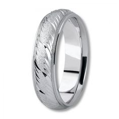 Wedding Band Engraved Patterns | Sophisticated Antique Wedding Ring with Fancy Carved Pattern