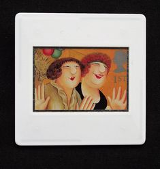 This close up of one of Beryl Cook's paintings, is printed as one of the set of ten Royal Mail postage stamps called 'Greetings Clown' issued in 1995.  The unused stamp is of 'Girls on the Town,' from the collection of paintings 'Bouncers', 1991.  This image of two women having a good time is encased in a vintage slide mount, with glass, making this a unique piece of jewellery.   A nickel plated brooch pin with safety catch is used as a fastening.