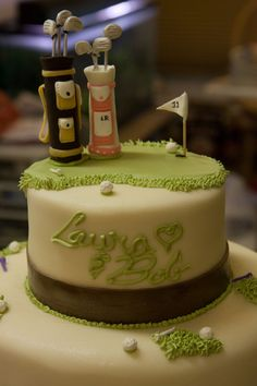 Golf Wedding Cake - with second layer of other things they love . or anniversary cake Golf Themed Cakes, Golf Birthday Cakes, Golf Cakes, Golf Grooms Cake, Cupcakes, Cupcake Cakes, Golf Wedding, Wedding 2017, Wedding Reception