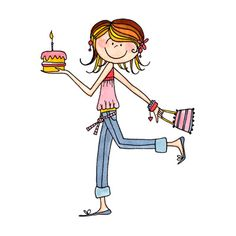 dibujo de chica de cumpleaños