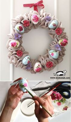 Beautiful Easter wreath – www. Halloween Crafts, Holiday Crafts, Halloween Ideas, Easter Wreaths, Christmas Wreaths, Easter Arts And Crafts, Egg Decorating, Diy Wreath, Diy Crafts