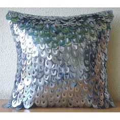 The HomeCentric Handmade Silver Accent Pillows, Art Deco Solid Pillow Cases, inch cm) Cushion Covers, Art Silk Square Pillows Cover, Metallic Sequins Pillow Cases - Metallic Scales Silver Pillows, Blue Pillows, Toss Pillows, Accent Pillows, Sofa Pillow Covers, Cushion Covers, Silk Pillow, Pillow Shams, Pillow Cases