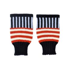 Back to Memphis | MARGOT & ME | Short Fingerless Gloves Jamie | Colorful Wristwarmers with stripes knitted in Fair Isle