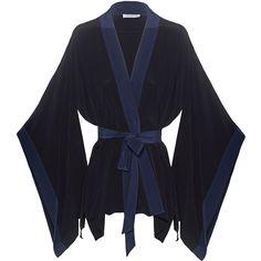 EQUIPMENT Elias Contrast Blackv // Silk kimono (10.110 RUB) ❤ liked on Polyvore featuring intimates, robes, underwear, long sleeve kimono, silk kimono robe, silk robe, silk kimono and kimono robe