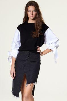 Iris Unbalance Denim Skirt Discover the latest fashion trends online at storets.com #storets online store  #