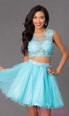 Prom Dresses, Celebrity Dresses, Sexy Evening Gowns: Short Sleeveless Two Piece Dress with Lace Bodice