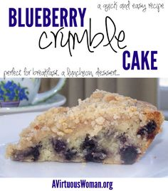 You'll love this easy Blueberry Crumble Cake Recipe @ AVirtuousWoman.org