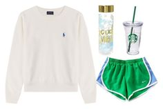 """I think of you"" by simply-elle ❤ liked on Polyvore featuring NIKE, Polo Ralph Lauren and Starbucks"