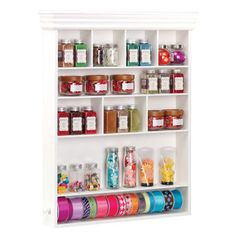 Wall Mount Embellishment Organizer: White painted finish Use for desktop or mount on wall Constructed of durable, high quality MDF fiberboard Material conforms to CARB regulation Craft Storage Solutions, Craft Room Storage, Storage Ideas, Craft Rooms, Shelving Ideas, Wall Storage, Garage Storage, Ribbon Organization, Craft Organization