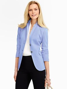 Talbots - Pique-Knit Jacket | Jackets | Misses ... Either it is cornflower or periwinkle blue
