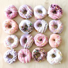 Who doesn't love donuts! How about little mini donuts to go with your party theme? These pretties were for a pastel unicorn birthday party - perfect for little hands and mouths and minimal mess! #GlitterUnicorn