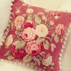 Romantic 1930s Pink English Cabbage Rose Bouquet Vintage Barkcloth Fabric Pillow