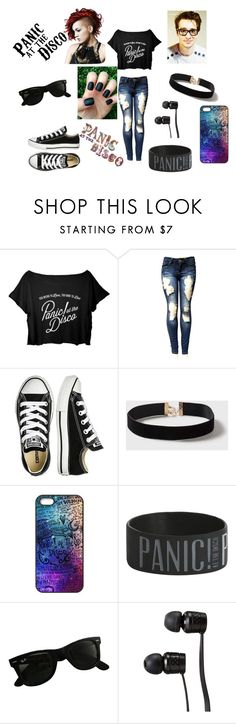 """""""Panic! At The Disco"""" by ahamilton1674 ❤ liked on Polyvore featuring Converse, Dorothy Perkins, Ray-Ban and Vans"""