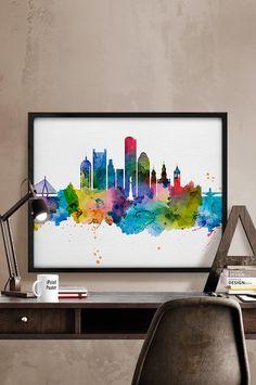 Boston skyline watercolor Boston Art Print Boston by iPrintPoster