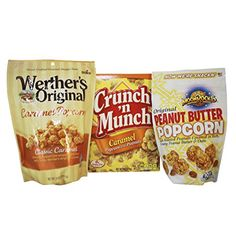 Caramel Popcorn Variety Set Featuring Assorted Popped Ready To Eat Flavors Werthers Caramel Popcorn Crunch N Munch and Moon Rocks Peanut Butter Cluster Popcorn -- Find out more about the great product at the image link.