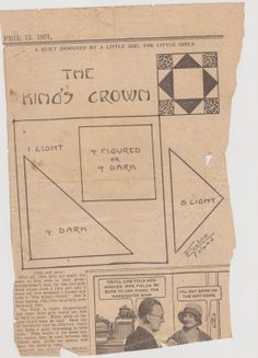 The King's Crown  quilt pattern from The Weekly Kansas City Star April 15, 1931