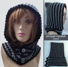Crochet Hoods FREE crochet pattern for a Striped Hooded Cowl. - FREE crochet pattern for a Striped Hooded Cowl. Crochet Hooded Cowl, Col Crochet, Knit Cowl, Crochet Shawl, Crochet Beanie, Free Crochet, Knitted Cowls, Cowl Scarf, Crochet Scarves
