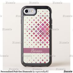 Personalized Pink Geo Diamonds Speck iPhone Case  #geometric #diamondpattern #iphonecase #personalized