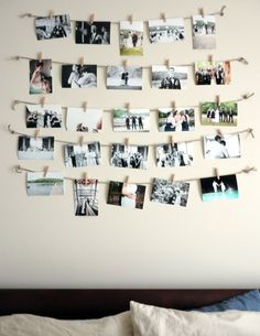 Clothes pin pictures. Cute, cheap way to displays all of our wedding photos~ …