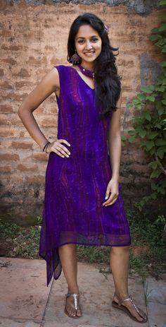Ovidie purple, hand painted silk dress.
