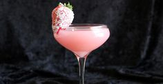 Strawberry Patch Recipe Beverages with strawberry liqueur, cherry vodka, Galliano, sloe gin, mandarin juice, whipping cream