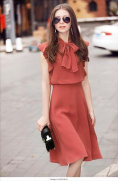V neck Brick Red A-line Party Casual Sleeveless Bow Solid Midi Dress Daytime Dresses, Day Dresses, Cute Dresses, Dress Outfits, Casual Dresses, Fashion Dresses, Formal Outfits, Midi Dresses, Elegant Outfit