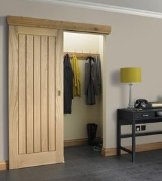 FULL Dordogne Oak - Howdens (as a sliding door) - Diy Interior Design Sliding Closet Doors, Wardrobe Doors, Sliding Wardrobe, Curtain Wardrobe, Kitchen Sliding Doors, Sliding Cupboard, Hall Wardrobe, Hallway Closet, Bathroom Doors