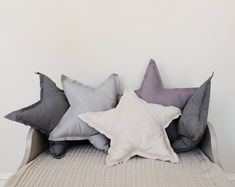 Star shaped Pillow or cushion  french grey soft by ColetteBream