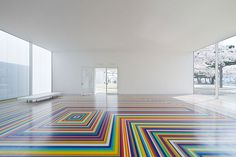 Towada art center with Glasgow-based artist Jim Lambie tape-floor.
