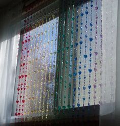This beaded curtain has pretty iridescent rainbow hearts.Beaded strands are easily removed from the rod if you so desire.Size: 36 inches wide by 72 inches long. Beaded Curtains, Door Curtains, Door Beads, Bohemian Girls, Rainbow Heart, New Room, Wind Chimes, Iridescent, Decorate Walls