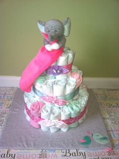 3 Tier Pink Elephant Diaper Cake on etsy.com from diapershowerbakery