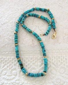 Turquoise Mens Necklace Beaded Mens Jewelry by BlueMargarita