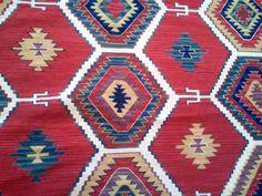 Vibrant kilim, red and blue flatweave rug 8x10