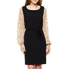 Dotted-Sleeve Solid Dress
