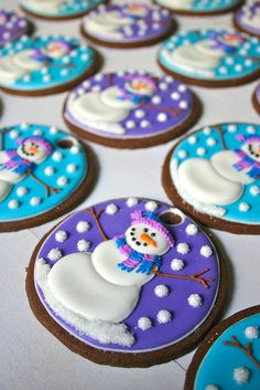 Snowman hanging decorative winter /Christmas ornament cookies by Jesicakes!  Perfect edible AND decorative gift for the holidays!
