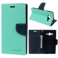 MERCURY GOOSPERY Fancy Diary Leather Wallet Case for Samsung Galaxy J3 / J3 (2016) - Cyan
