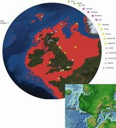 End Ice Age 130 M-300 Ft. Ocean Level Rise! Disastrous global inundation of continental coastlines,around 1400-1300 B.C.Entire low lying land areas were submerged in sea water, and islands like Ireland and England shrunk down to their present size. The area between Norway, Denmark, Holland, England,once called!Doggerland, was submerged and became the North Sea!Taiwan and China were separated whereas before they were one landmass.(Red parts in map are now under water!)