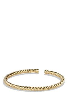 Women's David Yurman 'Cable' Precious Bracelet with Diamonds in Gold - Gold