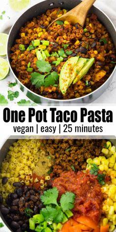 Vegan Dinner Recipes, Vegan Dinners, Vegan Recipes Easy, Pasta Primavera, Carne Asada, Lunch Snacks, One Pot Meals, Easy Meals, Taco Dinner