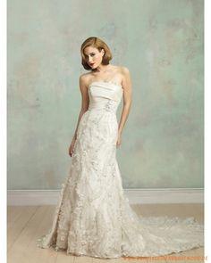 Elegantes Brautkleid 2013 aus Satin verziertes Korsett und Applikation bodenlang und Rock mit Schleppe