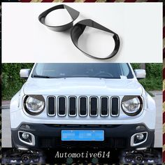 2Pcs Angry Bird HeadlampTrim Cover ABS Bezels for Jeep Renegade 2015-2016 Black #Unbranded