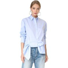 Victoria Victoria Beckham Asymmetrical Bow Shirt ($535) ❤ liked on Polyvore featuring tops, oxford blue, folding shirts, cotton shirts, long sleeve collar shirt, asymmetrical tops and blue collar shirt