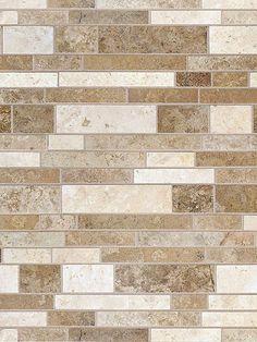 Multi color travertine mix subway backsplash tile. Dark, Medium and Light Brown Mixed backsplash.com/