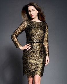 Gold dress with black lace