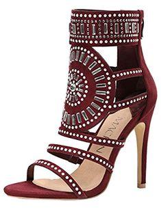 ad33b59bb40b Womens Open Toe Rhinestone Embellished Strappy Cuff Stiletto High Heel  Sandal Shoes