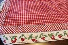 Beautiful Tablecloth  Red And White Checked by losttreasures2u